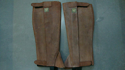 Aigle Leather Suede Nubuck Riding Half Chaps Gaiters Steampunk Ladies large