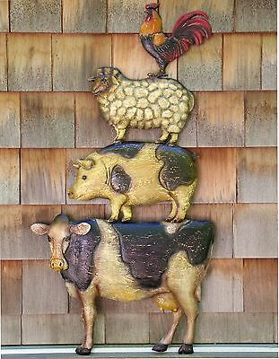 Tin Farm Animal Sign Stack Cow Pig Sheep Rooster Primitive Country Kitchen Sign