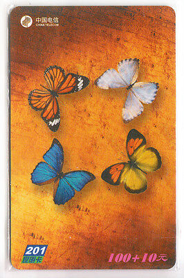 Asie  Telecarte / Phonecard .. Chine 100Y C.t 201.com  Papillon Butterfly