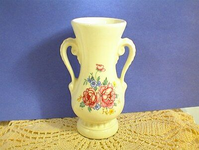 """Vintage Royal Copley Vase White Red Flowers Handles 6¼"""" Tall"""