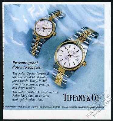 1983 Rolex Oyster Datejust gold steel watch color photo Tiffany's print ad