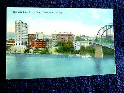 Early 1900's The City from River Front in Charleston, WV West Virginia PC