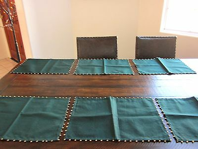 Festive Placemats 6 Green with Gold Metal Trim