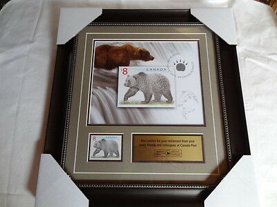 Canada Post $8 Grizzly Bear Stamp Framed Matted Retirement 2015 Picture