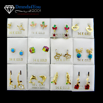 Wholesale 12 Pairs Assorted 14K Yellow Gold Colored Stones Earrings EASS-1