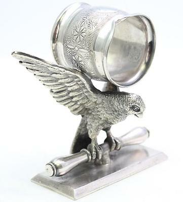 Stunning Victorian Figural Parrot Silver Plate Napkin Ring