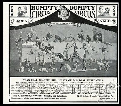 1907 Humpty Dumpty toy circus animal & performer set vintage print ad