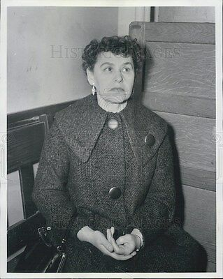 1958 Press Photo Mrs. Jean Runyan sits in Fillmore Police Station