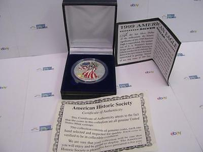 1999 Colorized Silver American Eagle Proof Coin  New In Box