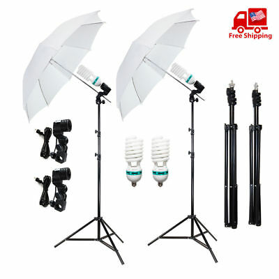 "2x 33"" Photo Studio White Umbrella Reflector Lamp Photography Stand Lighting Kit"