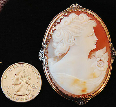 EXTRA LARGE ANTIQUE SHELL CAMEO BROOCH Lovely spinel accents on arty mount