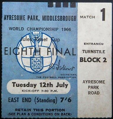 WORLD CUP EIGHTH FINAL 1966 TICKET USSR  NORTH KOREA Ayresome Park Middlesbrough