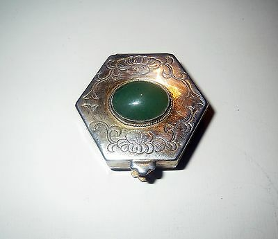 Antique Chinese STERLING SILVER & GREEN JADE Miniature - SNUFF BOX