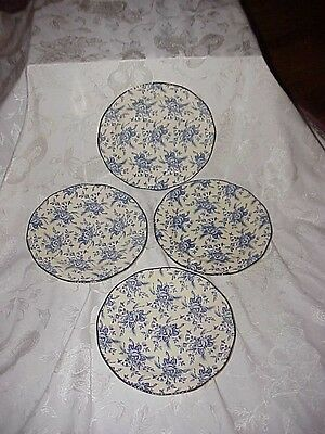 4 Wood & Sons Colonial Rose Blue Dinner Plates EUC