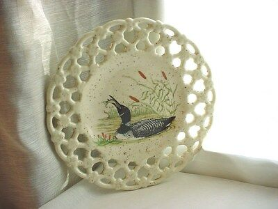 Vtg Loon Plate Minnesota State Bird 7 inch Pierced Edge Round Ceramic Picture