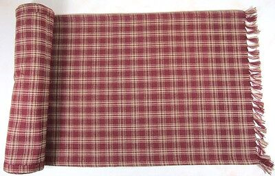 Table Runner 13X54 In Sturbridge Wine Plaid Cotton Primitive Country