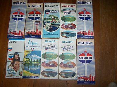 10 1960's Vintage Standard Oil Company Road Gas Station Maps
