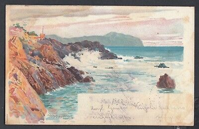 Italy 1904 Artist Signed View Of Nervi Squared Circle Postcard To Switzerland