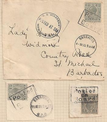 """1935 Leeward Islands Barbados St. Lucia Paquebot Cover """"Posted on Board"""""""