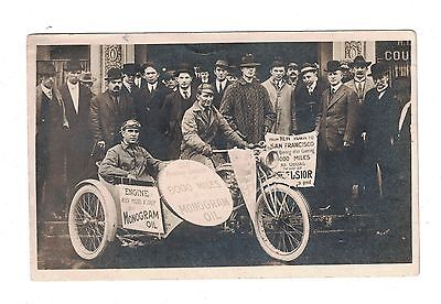 Postcard 2 Men and their Motorcycle with Sidecar Who Made a Cross Country Trip