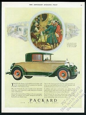 1928 Packard coupe green and yellow car color art vintage print ad