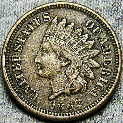 1862 Copper Nickel Indian Head Cent Penny ---- NICE TYPE COIN ---- #D422
