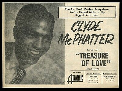 1956 Clyde McPhatter photo Treasure of Love record release vintage trade ad