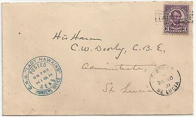 """1931 Leeward USA to St. Lucia Paquebot Cover """"Posted on the High Seas"""""""