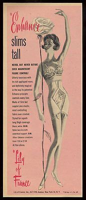 1958 Lily of France lingerie 'slims tall' woman bra panty vintage print ad
