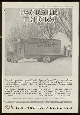 1922 Packard truck moving van movers photo vintage print ad