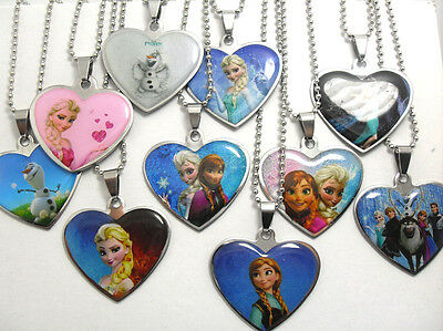 50pcs Heart frozen stainless steel pendants necklace  Elsa Anna .party birthday