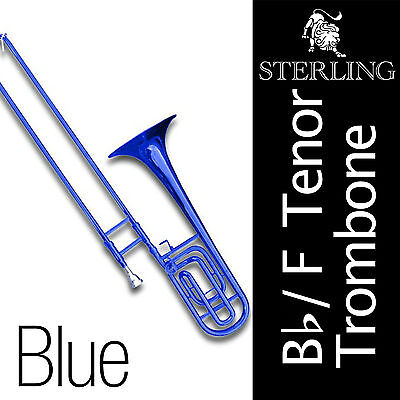 Bb/F Tenor STERLING Trombone • BLUE • Brand New • With Case and Accessories •