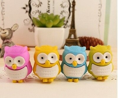 36Pcs New Novelty Owl Shaped Erasers Mixed Color