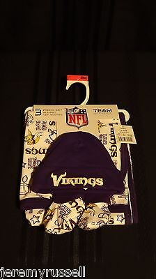 NEW 3 Piece MN Vikings Vikes Football NFL Blanket Cap Booties 0-6 Mo Baby Shower
