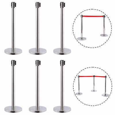 6 Red Belt Stanchion Queue Rope Barrier Posts Stand Retractable Polished Steel