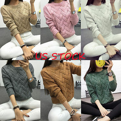 Women Casual Long Sleeve Knitted Sweater Pullover Loose Jumper Tops Knitwear US