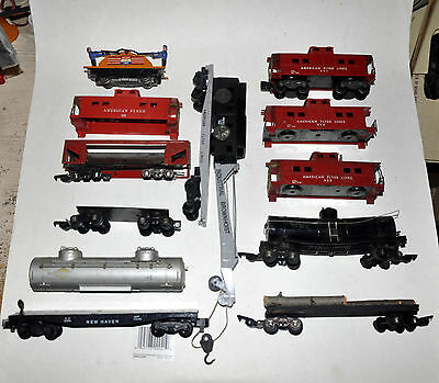 American Flyer Freight Lot~742 Handcar +24569 Crane +Junkers 12 Cars Total As-Is