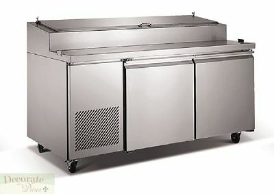 """PIZZA SALAD SANDWICH PREP TABLE 71"""" REFRIGERATED 2 Doors 9 Pans Stainless New"""