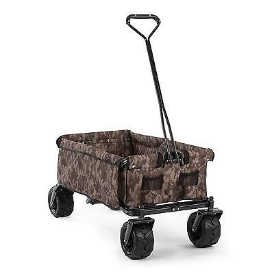 Waldbeck Handcart 4 Wheelbarrow Garden Wagon Yard Meatl Lawn Cart 90 L Foldable