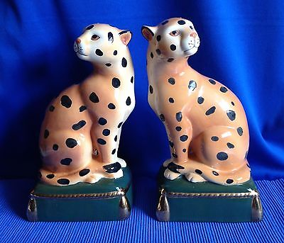Stunning Pair of Hand Painted Leopards - Excellent Condition