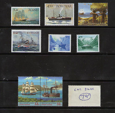 """8 M.N.H. """"Ship"""" stamps.   Cat. Val. £14.55.    79p ask"""