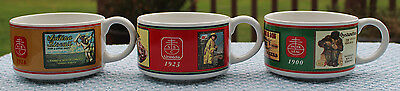 SET OF 3 NABISCO CRACKERS ADVERTISING SOUP MUGS Bowls VINTAGE ADS FROM 1900
