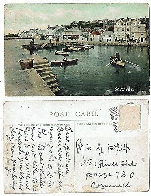 Cornish Post Card Early Printed Of St Mawes