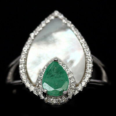 Adorable! Natural! Green Emerald, Shall Peail &cz Sterling 925 Silver Ring Size7
