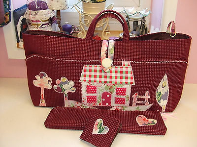 Knitting/sewing Bag Handmade Cottage Scene New+Accessories