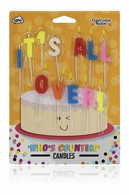 Who's Counting Candles ~ IT'S ALL OVER ~ joke birthday colour cake gift NP31942
