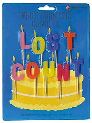 Who's Counting Candles ~ LOST COUNT ~ joke birthday colour cake gift W4267