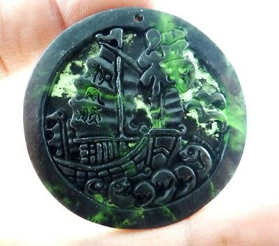 49*49 MM Chinese jade hand-carved the statue of yifanfengshuen agate PENDANT S_7