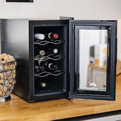 Ovation Wine Bottle and Drinks Thermoelectric Cooler / Fridge - Vertical, Black