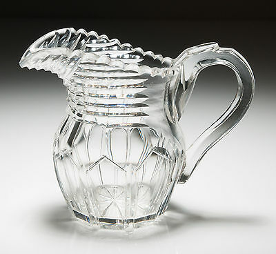 Antique Early Victorian Cut Glass Milk/Cream Jug with Strap Handle